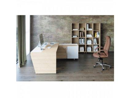 Sestava kancelářského nábytku Trevix 2 / Dub pískový a bílá