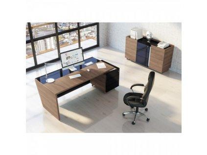 Sestava kancelářského nábytku Trevix 5 / Dub Charleston a černá