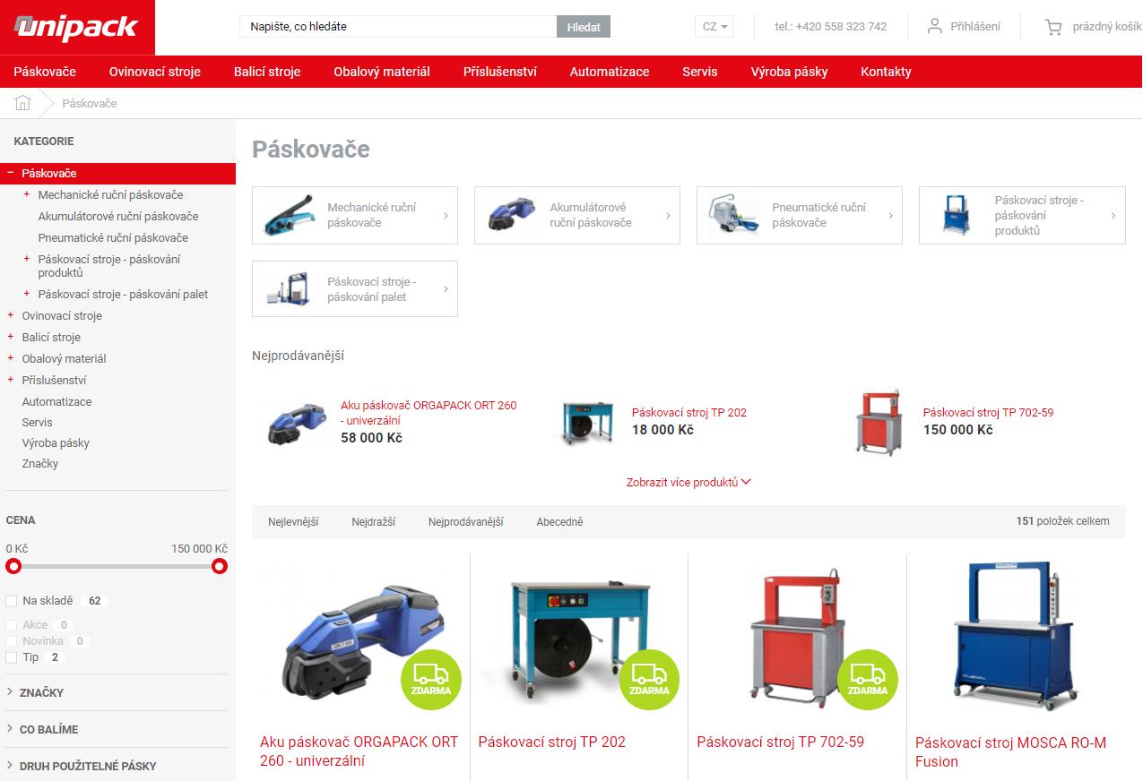 Nová internetová prezentace firmy UNIPACK