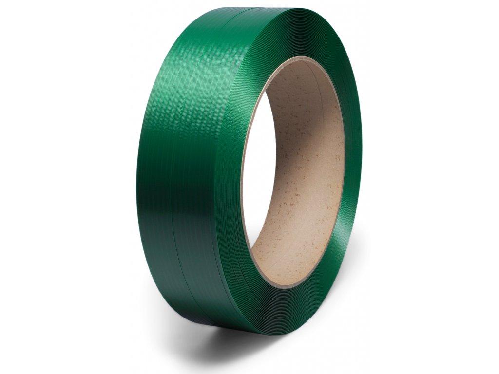 Polyesterová páska - 16 mm (Vázací páska PET16101300Z40L -rozměr 15.5x0.96 mm, ražba 15%, pevnost 5500 N, návin 1.3 km, dutinka 406x150 mm, váha cívky 22.1 kg)