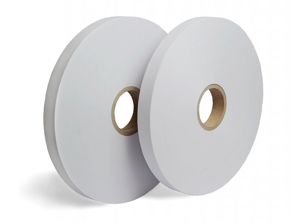 Bílá papírová páska - Ultrazvukový svár (Vázací páska PW9075PP800C 75 mm 800 m 90 g / m² 76 mm 4 ks 30 ks US)