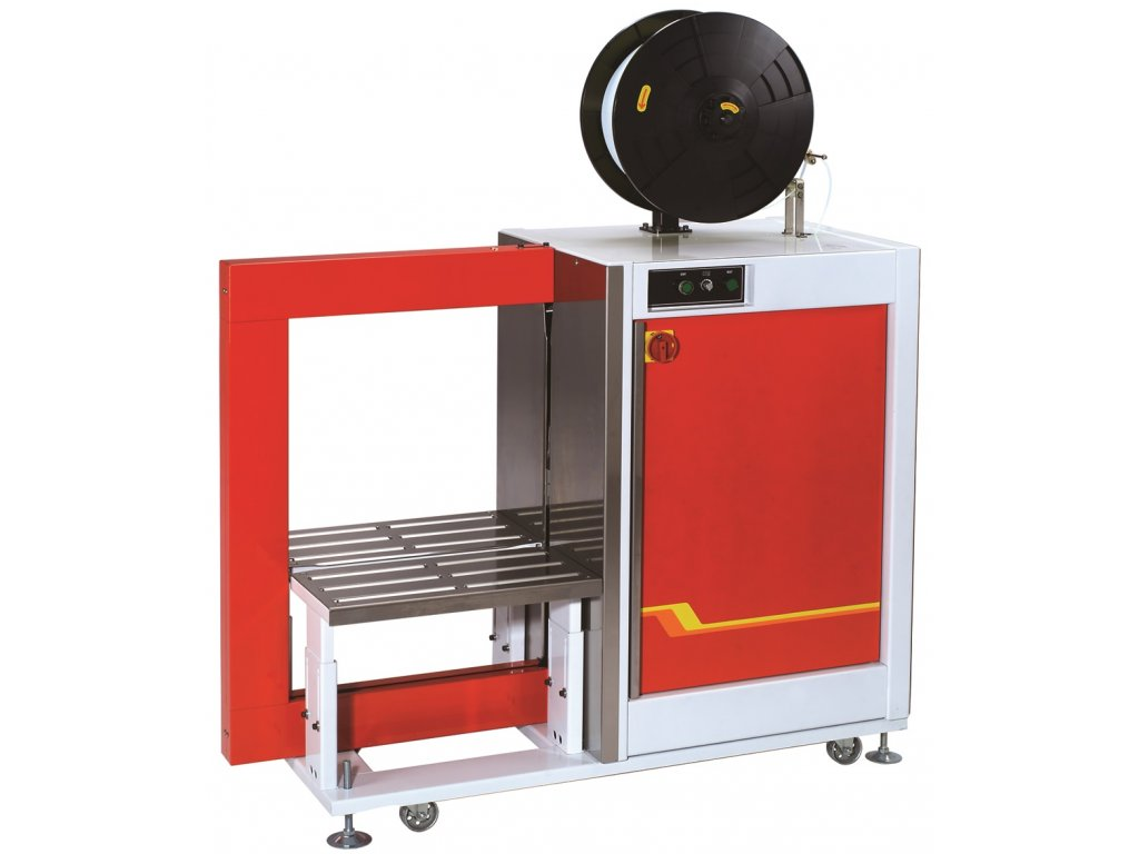 Boční páskovač TP 601Y (Páskovací stroj TP 601YA automatická varianta stroje s rámem o rozměru š.600x v.850 mm, pro šíři pásky 12 mm)