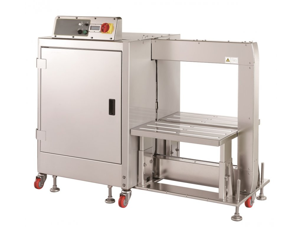 Boční páskovač TP 702YM/YAM - nerezový a omyvatelný (Páskovací stroj TP 702YM - Automatický model stroje (obsluha))