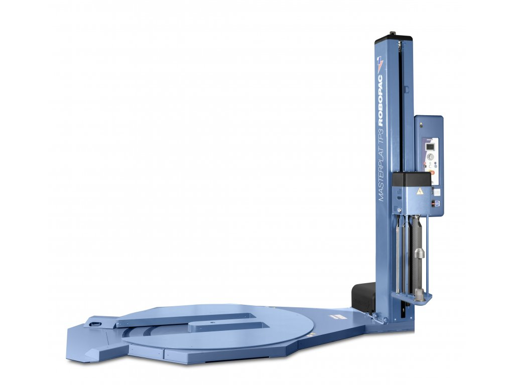 Mrazuvzdorný ovinovací stroj s výřezem v točně MASTERPLAT PLUS FREEZER TP3 (Ovinovací stroj MASTERPLAT PLUS FREEZER PGS - s fixním předepínáním fólie 250% a ovládáním napínání z ovládacího panelu)