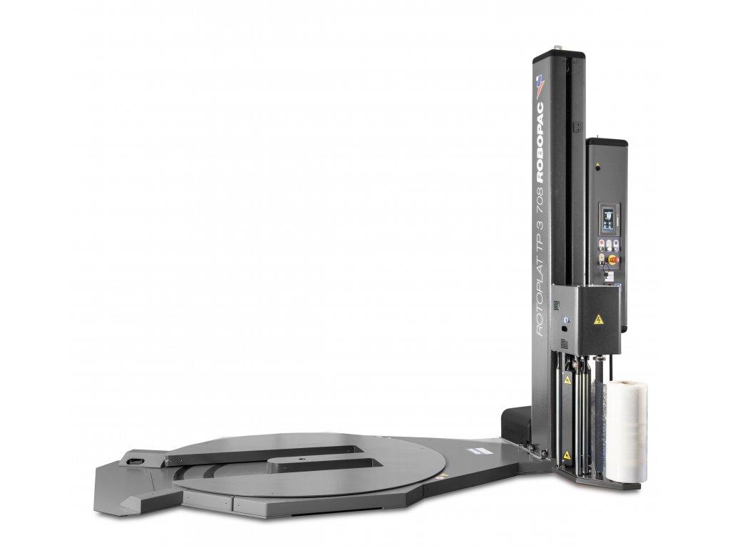Nerezový ovíjecí stroj ROTOPLAT INOX TP3 - s výřezem v točně (Ovinovací stroj ROTOPLAT INOX TP3 PVS - s variabilním předepínáním fólie 0-400% a ovládáním napínání i předepínání z ovládacího panelu)