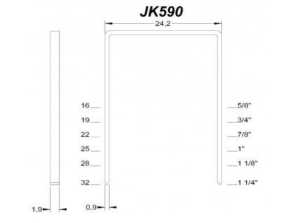 Ocelové sponky JK 590 (Spony Josef Kihlberg JK 590-32 - délka nohy 32 mm, šířka spony 24.2 mm, šířka nohy 1.9 mm, tl.nohy 0.9 mm)
