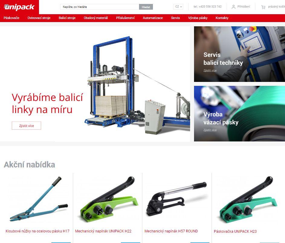 Nová internetová prezentácia firmy UNIPACK
