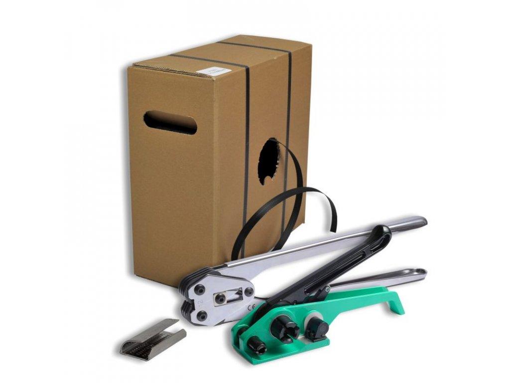 Sada pro páskování DELTA START (Páskovač 16 mm, Sada DELTA 16 START - PP páska 15x0.65mm 1000m, napínák H 23, kleště H 36-16, kovové spony 16 mm 1000 ks)