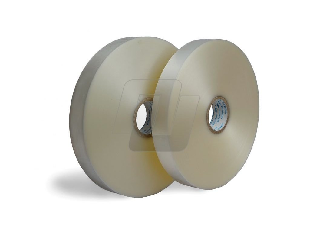 Fóliová páska transparent - Ultrazvukový svár (Vázací páska FTN13575750 75 mm 750 m 135 μm 76 mm 4 ks 30 ks US)