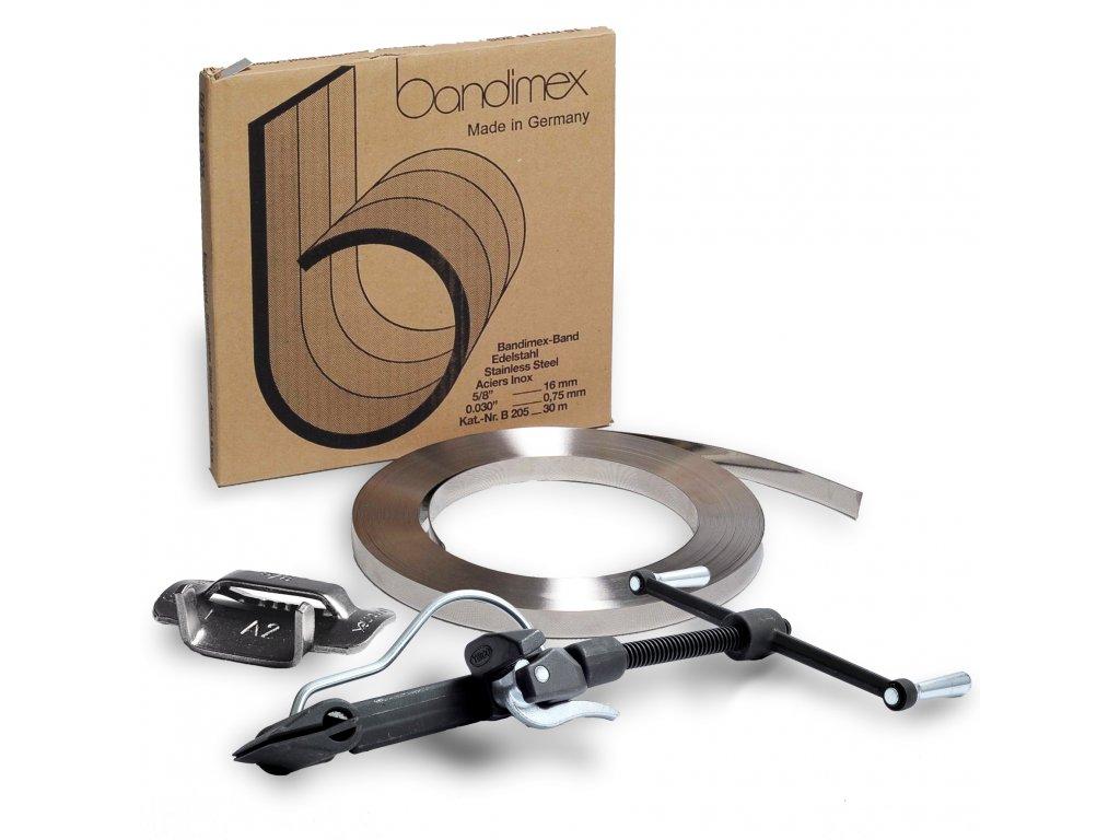 Sada pro upínání BANDIMEX JUMBO (Sada BANDIMEX 32 JUMBO - Bandimex páska B432 32x1 mm 30m, Bandimex spony S442 32mm 25ks, Upínák US 60)