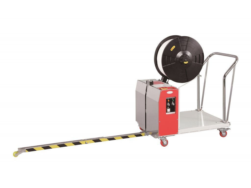 Aku páskovač palet TP 502MVB - bateriový (Páskovací stroj TP 502 MVB 15  - Bateriově poháněný model, pro pásku šíře 15 mm.)