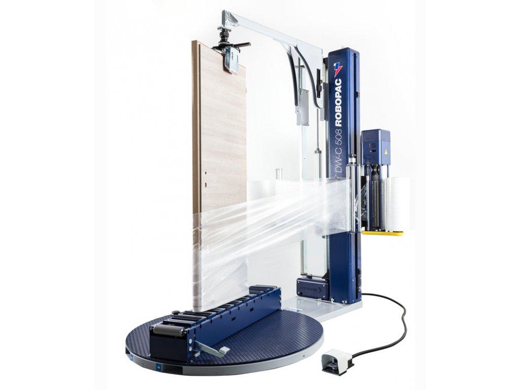 ROTOPLAT DW a DWC pro ovinování oken a dveří (Ovinovací stroj ROTOPLAT DW PDS - s mechanickými úchopy, s fixním předepínáním fólie 250% a ovládáním napínání z ovládacího panelu)