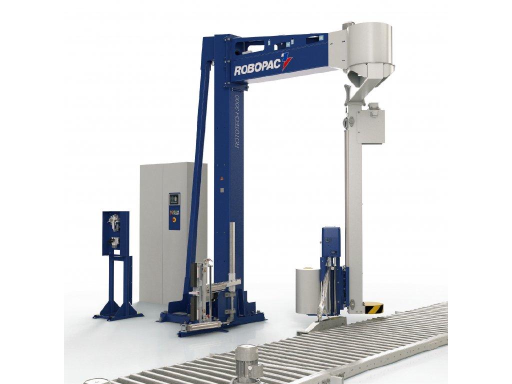 Ovíjecí zařízení s ramenem ROTOTECH 3000 (Ovinovací stroj ROTOTECH 3000 PVS - s variabilním předepínáním fólie PVS 0-400% a ovládáním napínání i předepínání z ovládacího panelu)