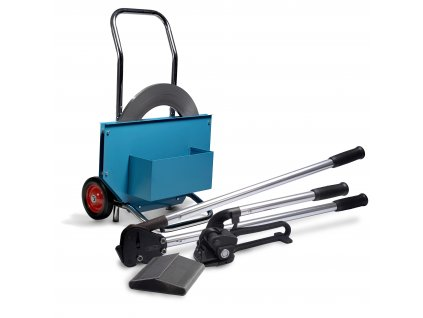 Páskování kulatých produktů sadou GAMA ROUND (Sada GAMA 32 ROUND - ocelová páska 32x0.8 mm 42 kg, páskovač H56, spony 32 mm 300 ks, kleště H67.32, odvíječ H 95B)
