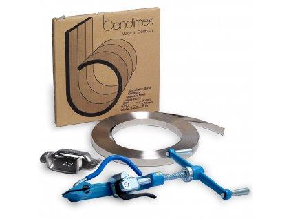 Sada pro upínání BANDIMEX PRO (Sada BANDIMEX 20 PRO - Bandimex páska B206 19x0.75 mm 30m, Bandimex spony S256 19mm 100ks, Upínák US 50)