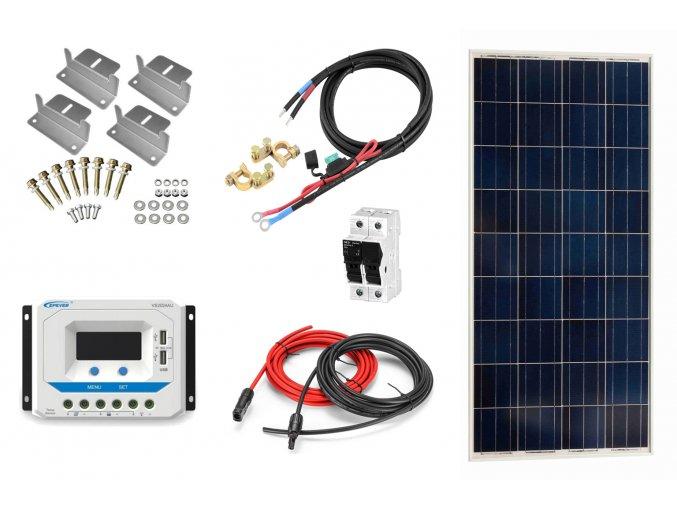 Ostrovný solárny systém na chatu 115Wp s PWM regulátorom bez batérie