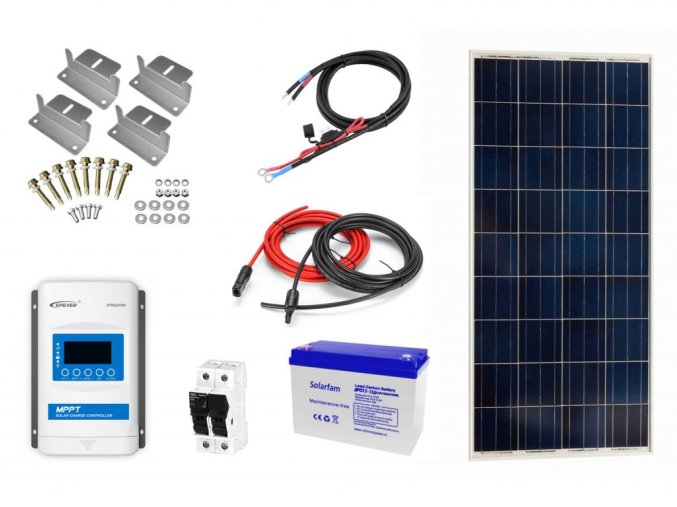 Ostrovný solárny systém na chatu so 175W solárnym panelom a batériou
