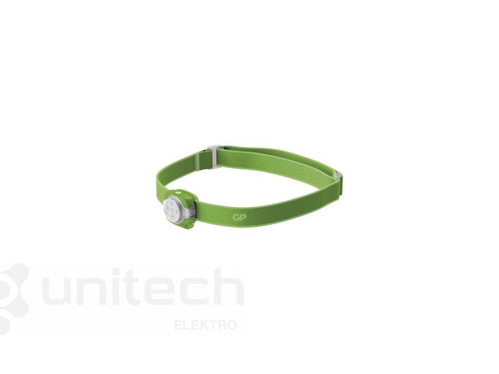 LED čelovka GP CH31, 40 lm, 8m, 2× CR2025, zelená