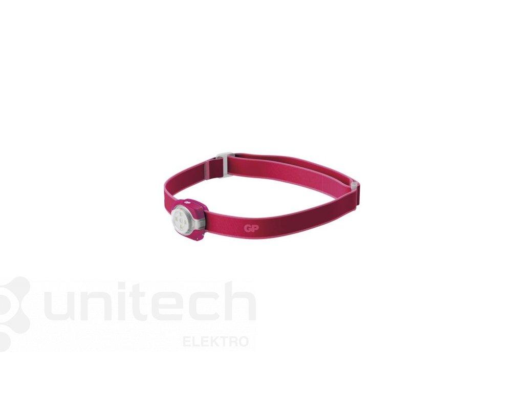 LED čelovka GP CH31, 40 lm, 8m, 2× CR2025, ružová