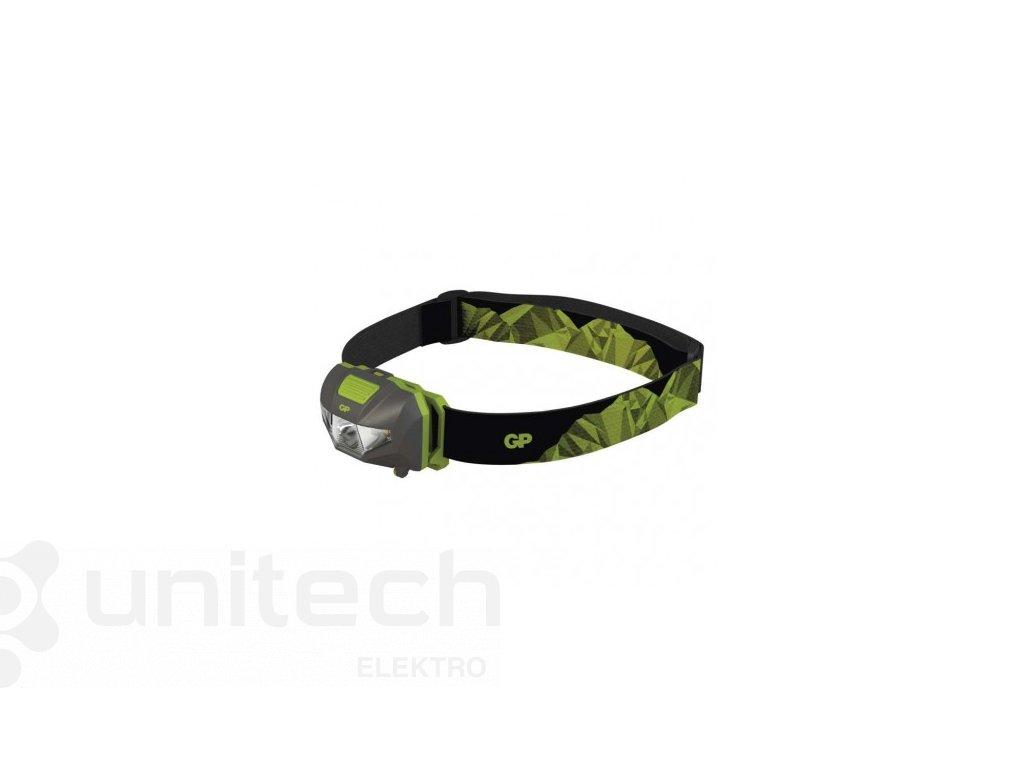 LED čelovka GP CH32, 80 lm, 30m, 3× AAA
