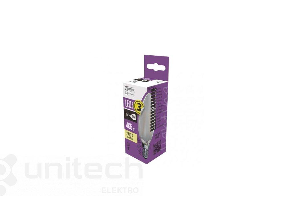 LED žiarovka Filament Candle matná A++ 4W E14 teplá biela