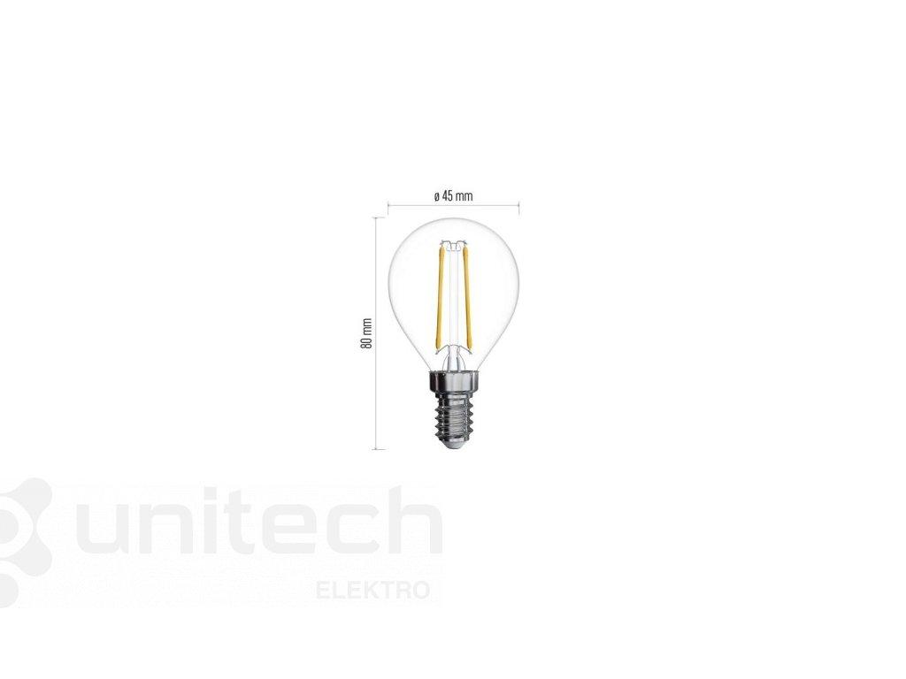 LED žiarovka Filament Mini Globe A++ 2W E14 teplá biela