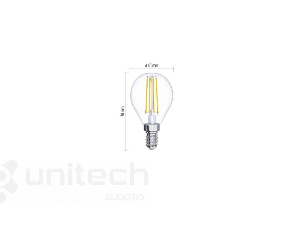 LED žiarovka Filament Mini Globe 6W E14 teplá biela