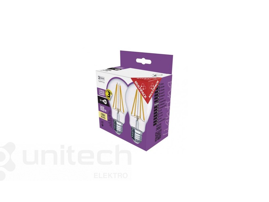 LED žiarovka Filament A60 A++ 6W E27 teplá biela