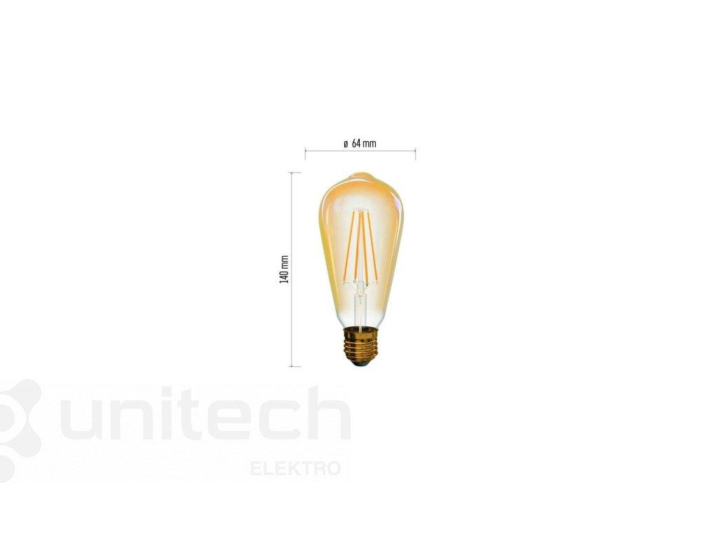 LED žiarovka Vintage ST64 4W E27 teplá biela+