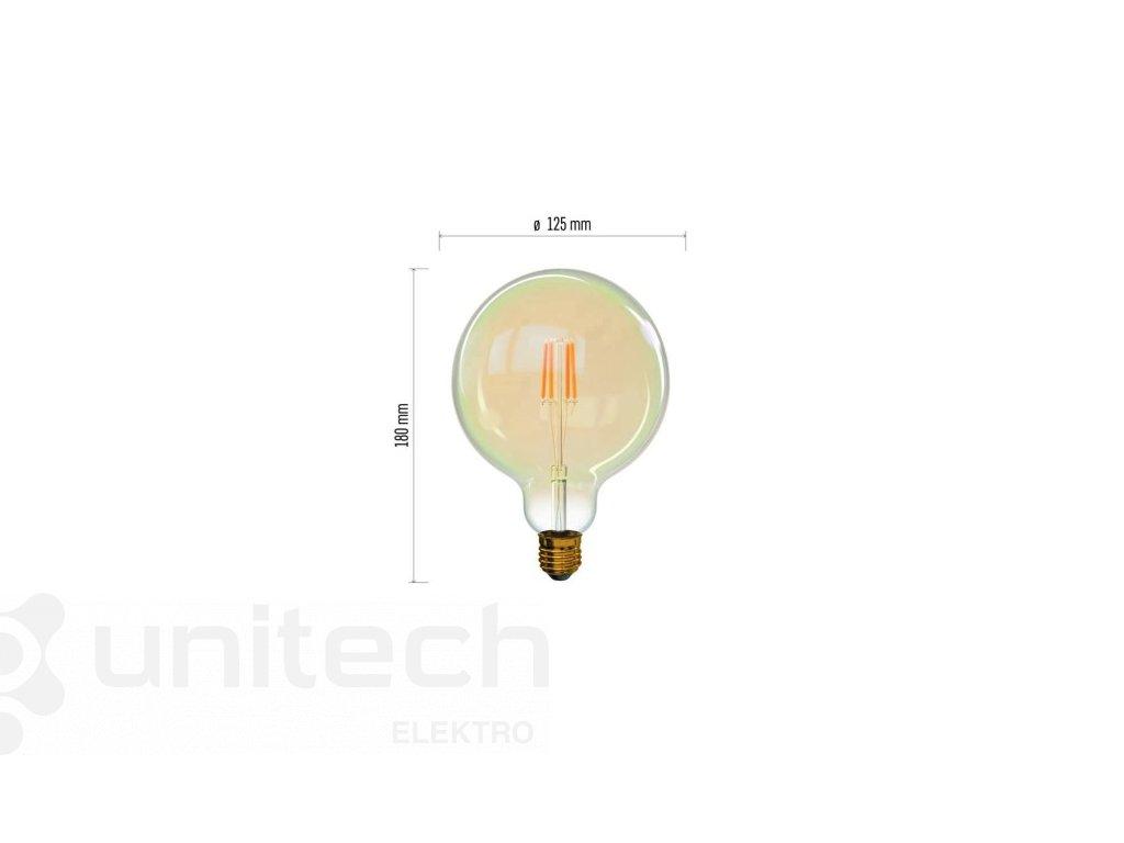 LED žiarovka Vintage G125 4W E27 teplá biela+