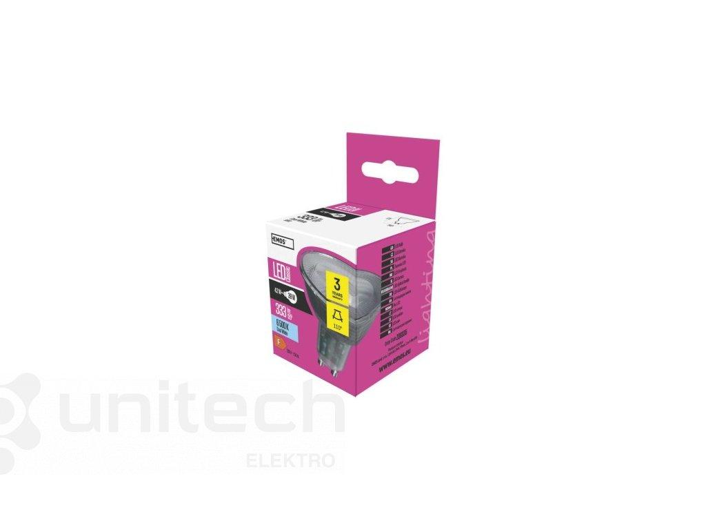 LED žiarovka Classic 4,2W GU10 studená biela