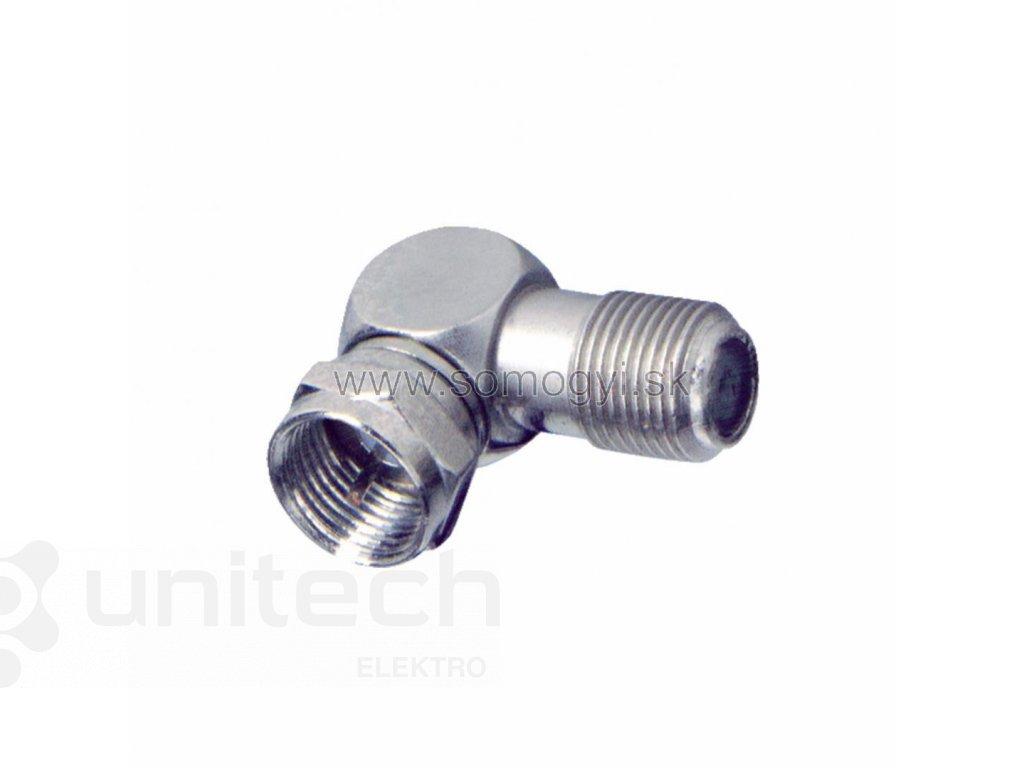 Konektor FF15, vidlica F-zásuvka F, uhlová, kov
