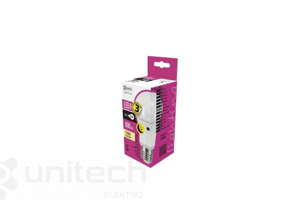 LED žiarovka Classic s fotosenzorom A60 9W E27 teplá biela
