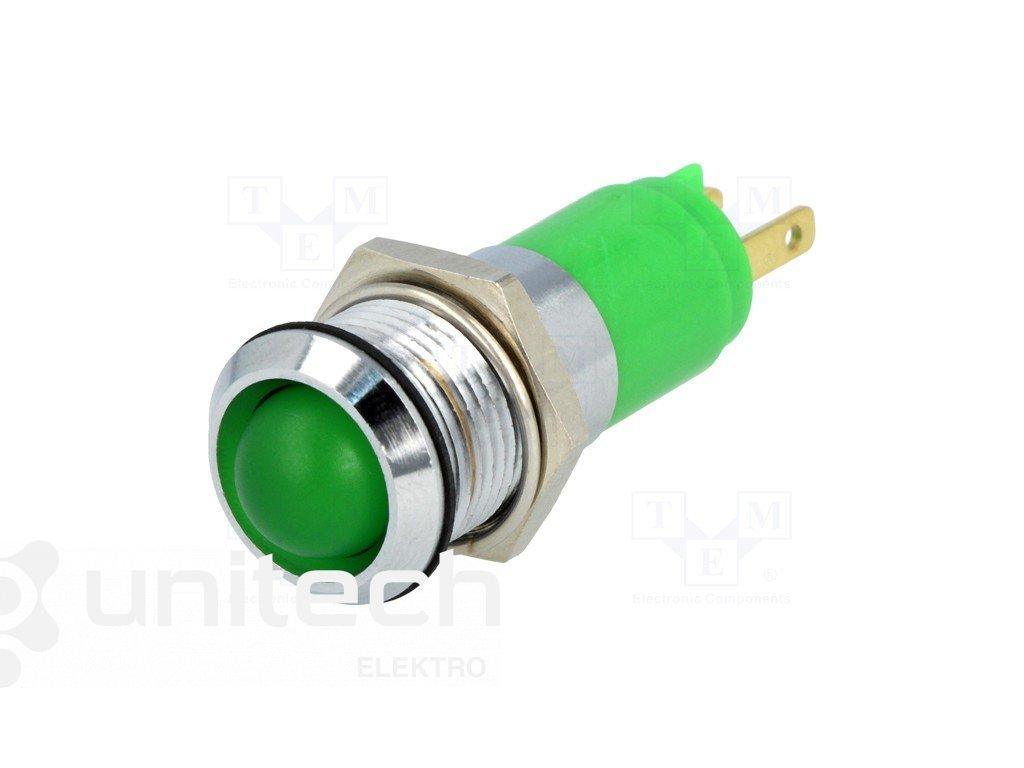 Kontrolka Led, zelená SWBU14724, 24-28VAC,DC, 14.2mm, IP67