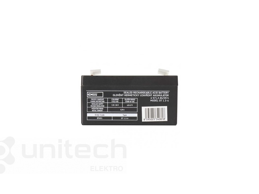 Bezúdržbový olovený akumulátor 6 V/1,3 Ah, faston 4,7 mm