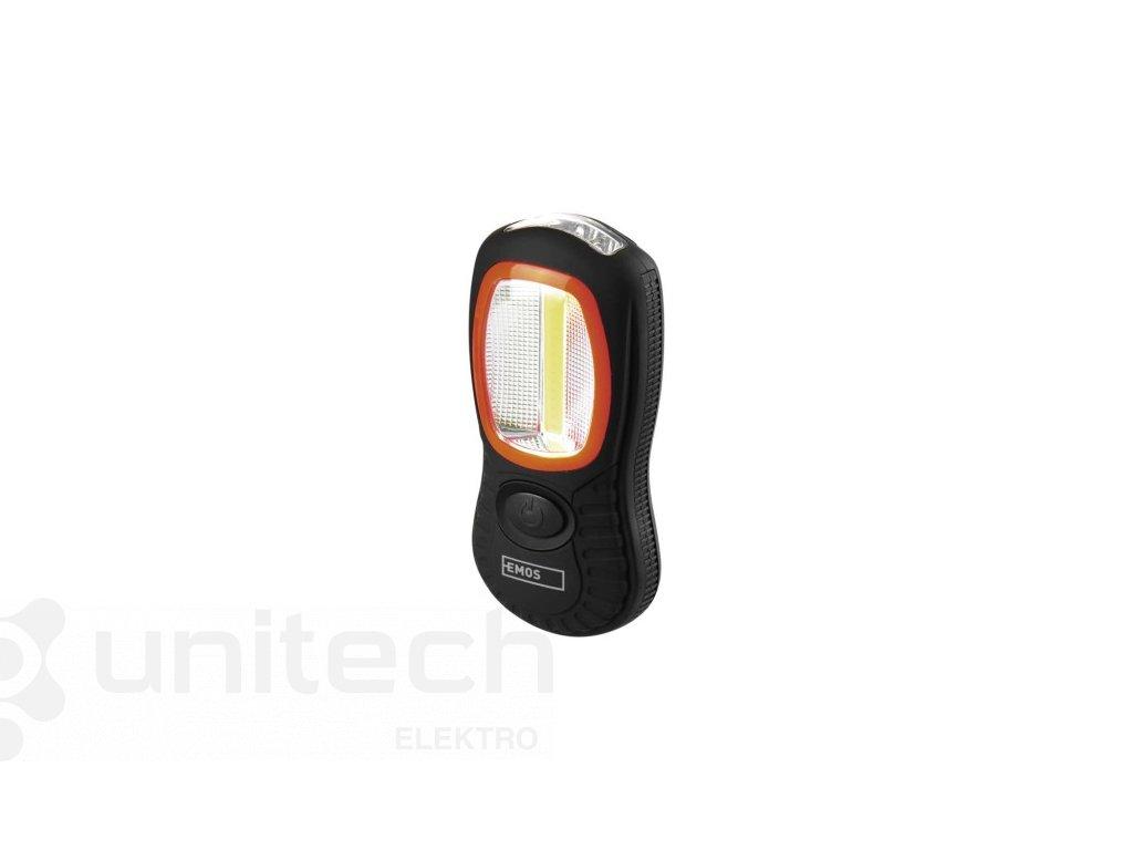 COB LED + LED pracovné svietidlo P3883, 200 lm, 3× AAA