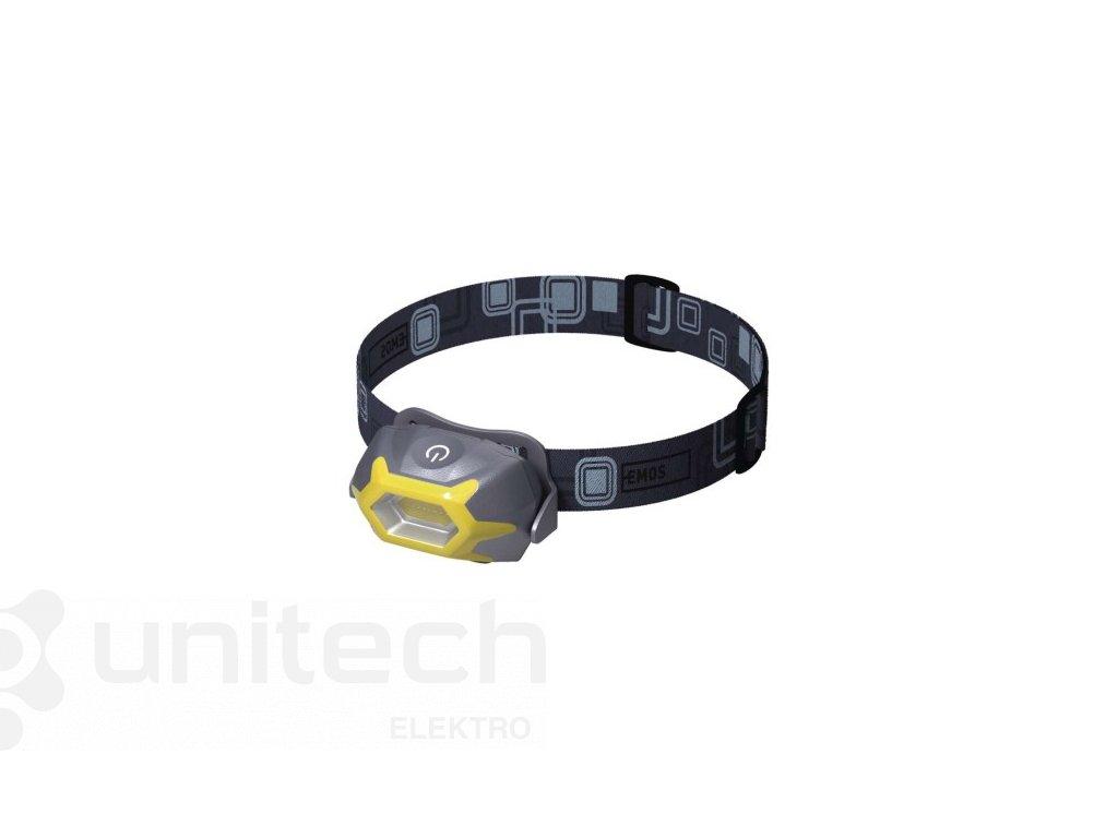 COB LED čelovka P3532, 125 lm, 20m, 3× AAA