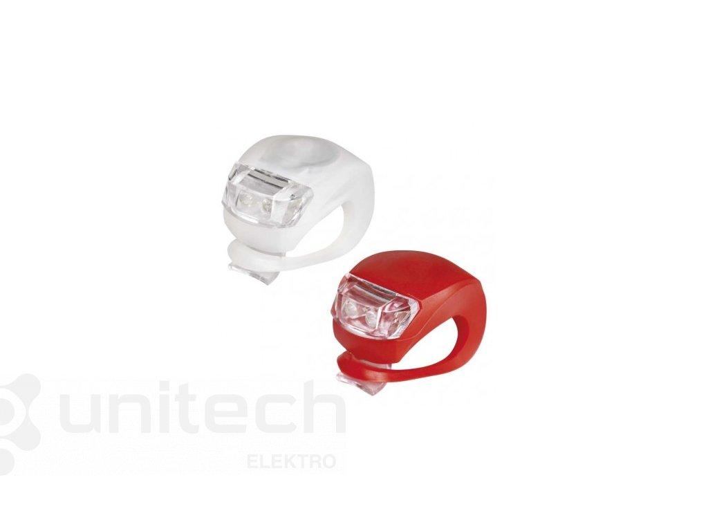 LED predné + zadné sviet. na bicykel P3921 na 2×CR2032,10 lm