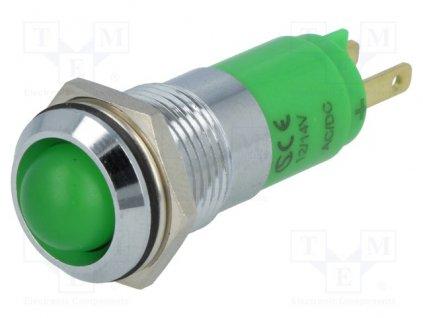 Kontrolka Led, zelená SWBU14722, 12-14VDC,14.2mm