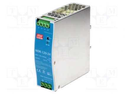 Napájací zdroj NDR-120-24 MEAN WELL,24VDC, 5A