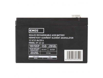 Bezúdržbový olovený akumulátor 12 V/12 Ah, faston 6,3 mm