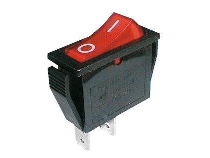 Prepínač kolískový 2pol./2pin ON-OFF 250V/15A červený