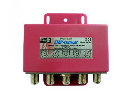 Satelitné relé (S4/1PCN-W1), prepínač DiseqC 1.0, 4xSATA IF/1xSAT IF, červený kryt, záruka 72 mes.