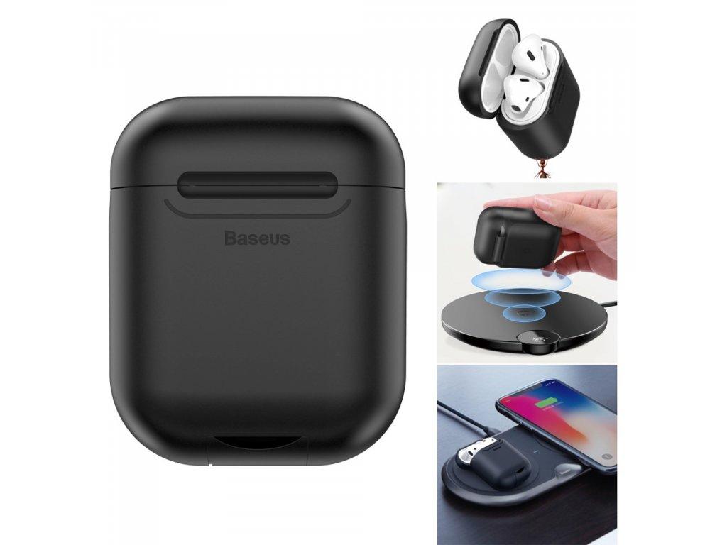Apple Airpods ochranný kryt černý BASEUS silikonový obal na sluchátka s bezdrátovým nabíjením