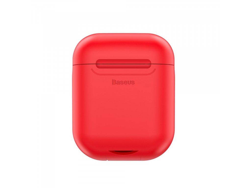 Apple Airpods ochranný kryt červený BASEUS silikonový obal na sluchátka s bezdrátovým nabíjením