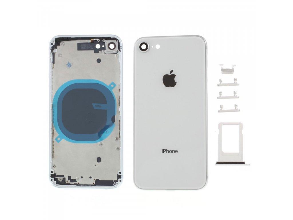 Apple iPhone 8 zadní kryt baterie bílý včetně středového rámečku telefonu stříbrný