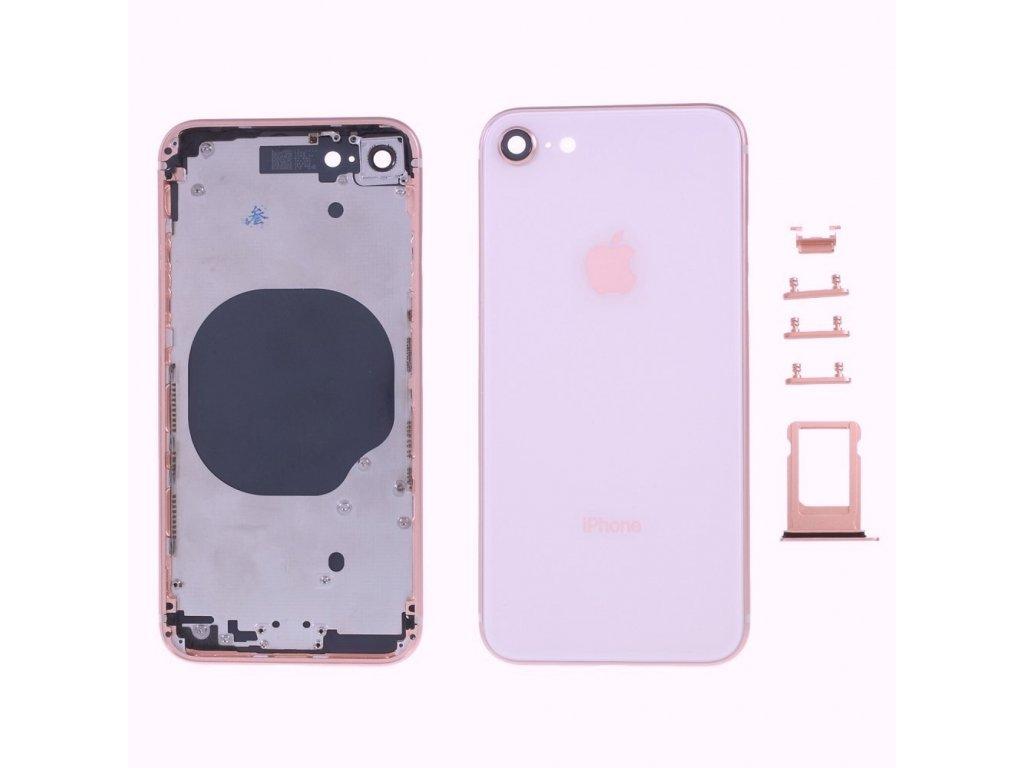 Apple iPhone 8 zadní kryt baterie růžový včetně středového rámečku telefonu
