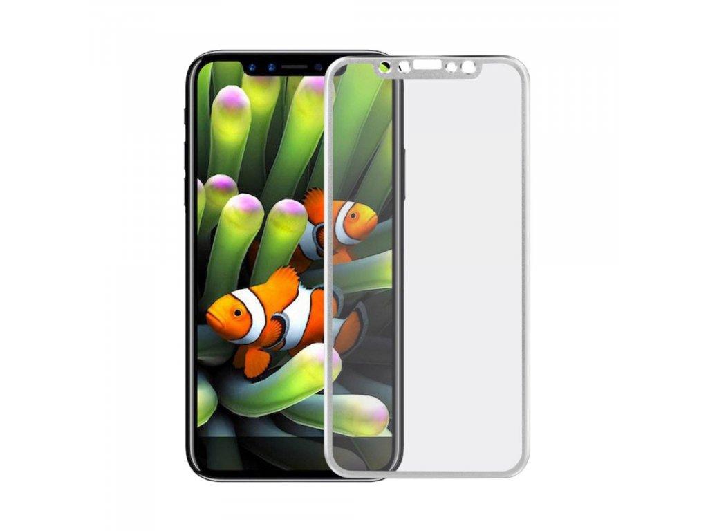 Apple iPhone X / XS ochranné tvrzené sklo 3D s hlinikovými rohy stříbrný