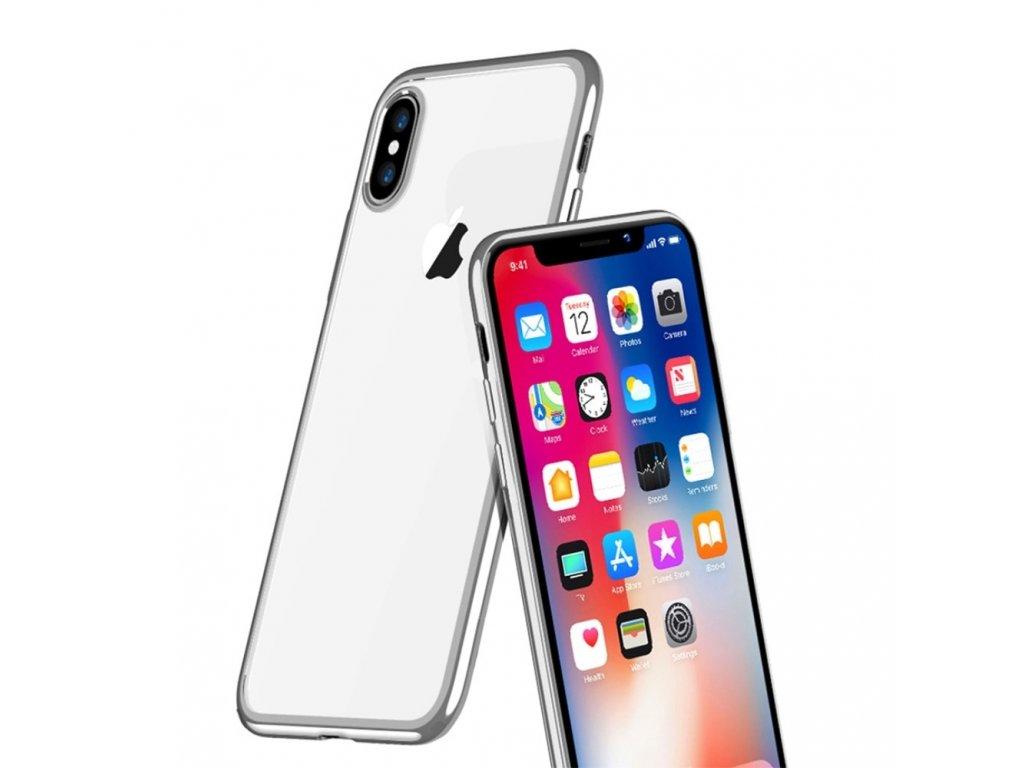 Apple iPhone X ochranné pouzdro obal se stříbrnými hranami průhledná zadní část