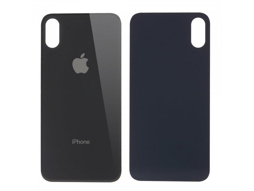 Apple iPhone X zadní skleněný kryt baterie černý s větším otvorem pro kameru